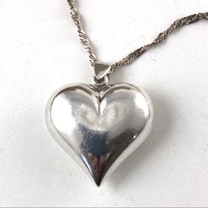 Big Sterling Heart Necklace Singapore Chain